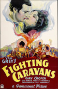 "Movie Posters:Western, Fighting Caravans (Paramount, 1931). One Sheet (26"" X 39.75"") StyleB...."