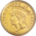 Three Dollar Gold Pieces, 1854-D $3 AU55 PCGS....