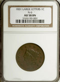 1831 1C Medium Letters AU58 NGC. N-6. NGC Census: (0/0). PCGS Population (3/5). (#1681) From the Fern E. Wagner Trust