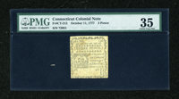 Connecticut October 11, 1777 3d Scarce White Paper SC PMG Choice Very Fine 35