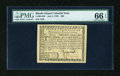 Colonial Notes:Rhode Island, Rhode Island July 2, 1780 $20 PMG Gem Uncirculated 66 EPQ....