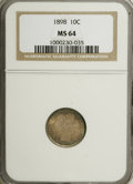 Barber Dimes: , 1898 10C MS64 NGC. NGC Census: (107/98). PCGS Population (88/86).Mintage: 16,320,735. Numismedia Wsl. Price for NGC/PCGS c...