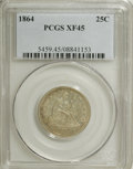 Seated Quarters: , 1864 25C XF45 PCGS. PCGS Population (4/51). NGC Census: (2/40).Mintage: 93,600. Numismedia Wsl. Price for NGC/PCGS coin in...