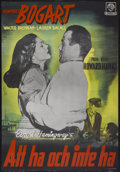 """Movie Posters:Romance, To Have and Have Not (Warner Brothers, 1940s). Swedish One Sheet (27.5"""" X 39.5"""") First Post-War Release. Romance...."""
