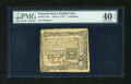 Colonial Notes:Pennsylvania, Pennsylvania April 3, 1772 2s PMG Extremely Fine 40 EPQ....