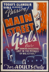"""Main Street Girls (Syndicate Pictures, 1938). One Sheet (28"""" X 41""""). Sexploitation"""