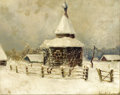 Fine Art - Painting, Russian, ARNOLD BORISOVICH LAKHOVSKY (Russian, 1880-1937). Village Churchin Snow. Oil on canvas laid on board. 8-3/4 x 10-1/2 in...