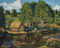 Fine Art - Painting, Russian:Antique (Pre-1900), NIKOLAI PETROVICH KRYMOV (Russian, 1884-1958). Russian Wash House at River. Oil on canvas. 20 x 24-3/4 inches (50.8 x 62...