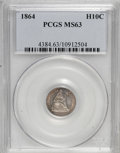 Seated Half Dimes, 1864 H10C MS63 PCGS....
