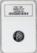 Proof Roosevelt Dimes: , 1951 10C PR67 Cameo NGC. NGC Census: (151/86). PCGS Population(92/6). Numismedia Wsl. Price for NGC/PCGS coin in PR67: $1...