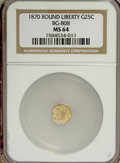 California Fractional Gold: , 1870 25C Liberty Round 25 Cents, BG-808, R.3, MS64 NGC. NGC Census:(6/11). PCGS Population (58/54). (#10669)...