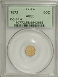 California Fractional Gold: , 1872 50C Liberty Octagonal 50 Cents, BG-914, R.4, AU55 PCGS. PCGSPopulation (4/60). NGC Census: (0/7). (#10772)...