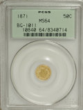 California Fractional Gold: , 1871 50C Liberty Round 50 Cents, BG-1011, R.2, MS64 PCGS. PCGSPopulation (56/37). NGC Census: (5/14). (#10840)...