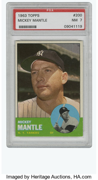 1963 Topps Mickey Mantle 200 Psa Nm 7 Fully Established By This