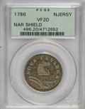 Colonials: , 1786 COPPER New Jersey Copper, Narrow Shield VF20 PCGS. PCGSPopulation (18/106). NGC Census: (0/0). (#496)...