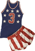 Basketball Collectibles:Uniforms, Circa 1940s College All-American Game Worn Uniform. Patriotic andiconic, this special uniform dates from the mid-20th cent...
