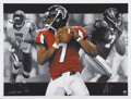 Football Collectibles:Balls, Michael Vick Signed Lithographs Lot of 5. From the exceptional art of renowned illustrator Adam Port we present a group of ...