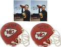 Football Collectibles:Balls, Len Dawson Signed Mini Helmets Lot of 2, Signed Photograph. Hall of Fame quarterback great Len Dawson enjoyed quite a caree...