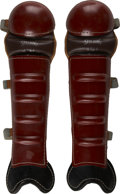 Baseball Collectibles:Others, 1950s Spalding Catcher's Shin Guards. Elegant in their constructionand retaining a great deal of their original luster, th...