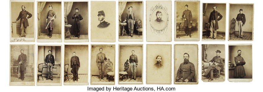 Military PatrioticCivil War Superb Collection Of Eighteen Union Soldier Cartes DeVisite