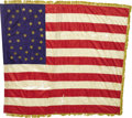 Military & Patriotic:Civil War, U.S. Regimental Silk Flag, 35 Hand Painted Gold Stars, with Gold Silk Fringe, ca. 1863....