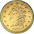 Classic Quarter Eagles, 1839-D $2 1/2 MS62 PCGS....