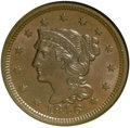 1846 1C Small Date MS63 Brown NGC. N-6. NGC Census: (49/97). PCGS Population (30/20). Mintage: 4,120,800. Numismedia Wsl...