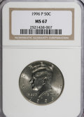 Kennedy Half Dollars: , 1996-P 50C MS67 NGC. NGC Census: (47/8). PCGS Population (361/50).Mintage: 24,442,000. Numismedia Wsl. Price for NGC/PCGS ...