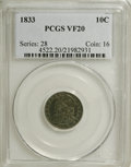 Bust Dimes: , 1833 10C VF20 PCGS. PCGS Population (4/234). NGC Census: (2/231).Mintage: 485,000. Numismedia Wsl. Price for NGC/PCGS coin...