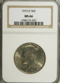 Kennedy Half Dollars: , 1973-D 50C MS66 NGC. NGC Census: (96/10). PCGS Population (168/50).Mintage: 83,171,400. Numismedia Wsl. Price for NGC/PCGS...