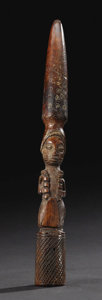 African: , Yoruba (Nigeria)Divination Tapper, Iroke Ifa. IvoryHeight:12 3/4 inches Dia. at open end: 1 1/4 inches. Analogous to...