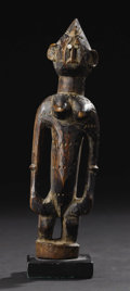 African: , Marka or Malinke (Mali). Female Figure. Wood, metal. Height: 7 ¾inches Width: 2 ¾ inches Depth: 2 ¼ inches. This small ...