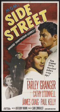 "Side Street (MGM, 1950). Three Sheet (41"" X 81""). Film Noir. Starring Farley Granger, Cathy O'Donnell, James C..."