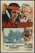 "Movie Posters:Serial, Black Arrow (Columbia, R-1955). One Sheet (27"" X 41"") Chapter 15 -- ""The Black Arrow Triumphs."" Serial...."