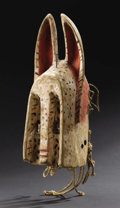 African: , Dogon (Mali). Mask representing a rabbit. Wood, pigments, fiber. Height: 14 ½ inches Width: 6 1/8 inches Depth: 6 inches. ...