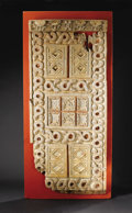 African: , Bamum (Cameroon). Royal Door. Wood, pigment. Height: 59 inches Width: 26 inches. This richly embellished royal door, thou...