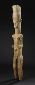 African: , Igbo (Nigeria), Owerri Region. Male Deity Figure. Wood. Height: 43 ½ inches Width: 6 inches Depth: 5 5/8 inches. Carved ...