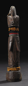"""African: , Mossi (Burkina Faso) Ziniare Region. """"Child"""" Image. Wood, leather, beads. Height: 8 ¾ inches Width: 1 7/8 inches Depth: 2 ..."""