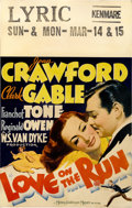 """Movie Posters:Comedy, Love On the Run (MGM, 1936). Window Card (14"""" X 22"""")...."""