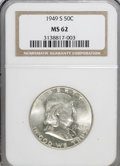 Franklin Half Dollars: , 1949-S 50C MS62 NGC. NGC Census: (45/1661). PCGS Population(42/2831). Mintage: 3,744,000. Numismedia Wsl. Price for NGC/PC...