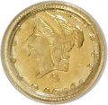 California Fractional Gold, 1871 25C Liberty Round 25 Cents, BG-839, Low R.4, MS64 PCGS. PCGSPopulation (6/0). NGC Census: (1/0). (#10700)...