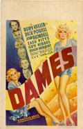 "Movie Posters:Musical, Dames (Warner Brothers, 1934). Window Card (14"" X 22"")...."