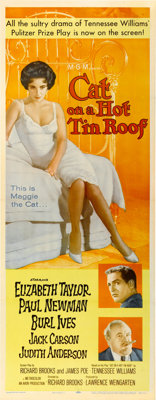 """Cat on a Hot Tin Roof (MGM, 1958). Insert (14"""" X 36"""")"""