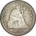 Seated Quarters, 1870-CC 25C --Damaged, Improperly Cleaned--NCS. AG Details....