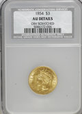 Three Dollar Gold Pieces, 1854 $3 --Scratched--NCS. AU Details....
