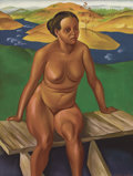 Fine Art - Painting, Russian:Contemporary (1950 to present), VASILY SHUKHAYEV (Russian, 1887-1973). Seated Female Nude. Oil on board. 38-3/4 x 29-1/4 inches (98.4 x 74.3 cm). Signed...