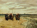 Fine Art - Painting, Russian:Antique (Pre-1900), VIKTOR IVANOVICH ZARUBIN (Russian, 1866-1928). Fishermen in Normandie. Oil on panel. 10 x 13-3/8 inches (25.4 x 34.0 cm)...