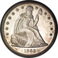 Seated Dollars, 1863 $1 MS61 NGC....