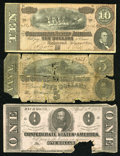 Confederate Notes:Group Lots, Three Confederate Notes.. ... (Total: 3 notes)