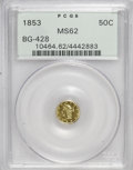 California Fractional Gold: , 1853 50C Liberty Round 50 Cents, BG-428, R.3, MS62 PCGS. PCGSPopulation (74/33). NGC Census: (11/5). (#10464)...